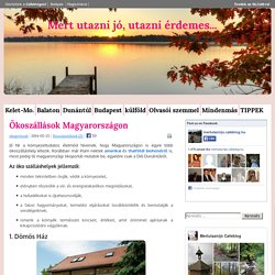 Ökoszállások Magyarországon