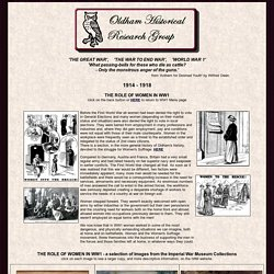Oldham Historical Research Group - World War 1, 1914-1918