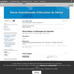 Olivier Reboul, La Philosophie de l'éducation