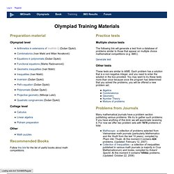 Olympiad Training Materials