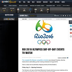 Rio 2016 Olympics day-by-day events to watch – OlympicTalk