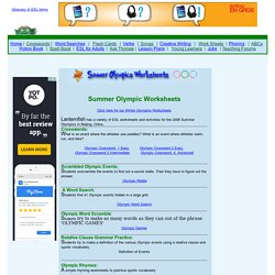 Olympics Worksheets and Activities