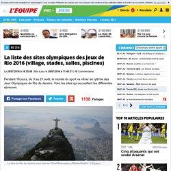 JO - Rio 2016 - La liste des sites olympiques des Jeux de Rio 2016 (village, stades, salles, piscines)
