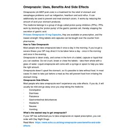 Omeprazole: Uses, Benefits And Side Effects