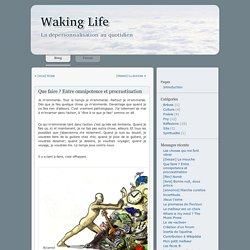 Waking Life » Archives du blog » Que faire ? Entre omnipotence et procrastination
