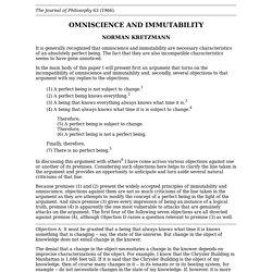 Kretzmann, N (1966), 'Omniscience and immutability', The Journal of Philosophy, 63, 409–421