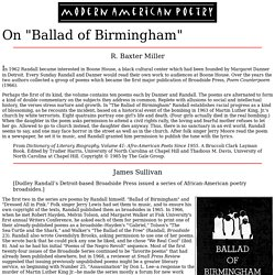 "an analysis of ballad of birmingham a short story by dudley randall Explication ballad of birmingham in the poem ""ballad of birmingham"", by dudley  randall, many different things can be analyzed the difference in the two."