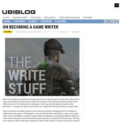 On Becoming a Game Writer