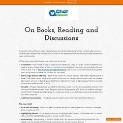 On Books, Reading and Discussions