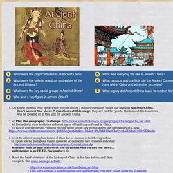 Ancient China Inquiry Lesson