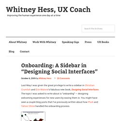 "Onboarding: A Sidebar in ""Designing Social Interfaces"""