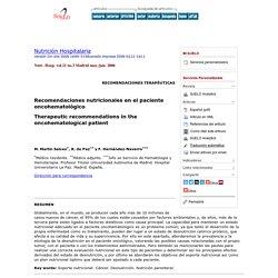 Recomendaciones nutricionales en el paciente oncohematológico