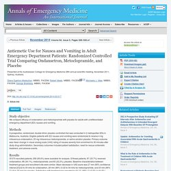 Ondansetron, metoclorpomide, placebo for nausea in ER