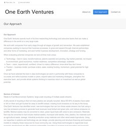 Our Approach - One Earth Ventures