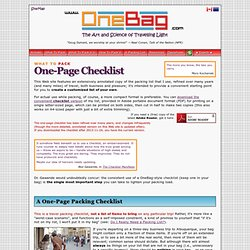 One-Page Packing Checklist