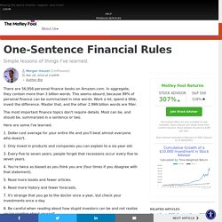 One-sentence financial rules
