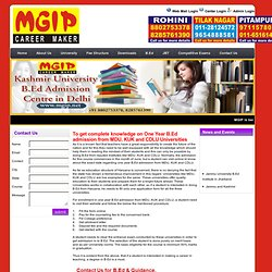 One Year B.Ed admission from MDU, KUK & CDLU