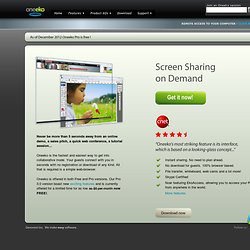 Oneeko - Screen Sharing on Demand Home page