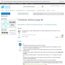 OneNote default page