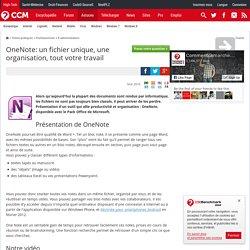 OneNote: un fichier unique, une organisation, tout votre travail