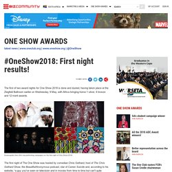 #OneShow2018: First night results!