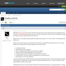 OneWire ALPHA - Beta Firmware and Drivers - Netduino Forums