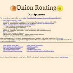 Onion Routing: Our Sponsors