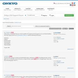 Onkyo USA Support Forum