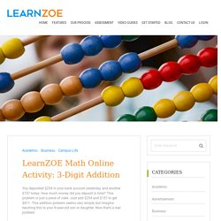 Math Online Activity: 3-Digit Addition