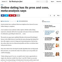 Online Dating Has Its Pros And Cons Meta-analysis Says