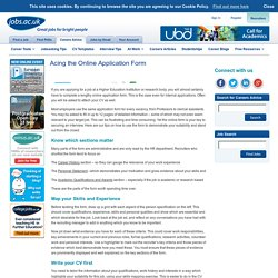 Acing the Online Application Form - Careers Advice