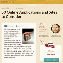 50 Online Applications and Sites to Consider | chrisbrogan.com