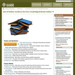 List of Online Archives for Free Unabridged Books Online