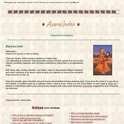 Online Asana Index (Sanskrit - English)