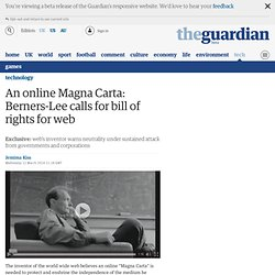 An online Magna Carta: Berners-Lee calls for bill of rights for web