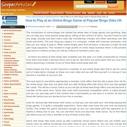 How to Play at an Online Bingo Game at Popular Bingo Sites UK