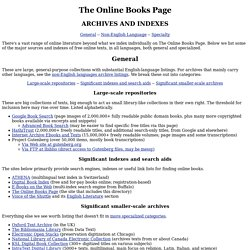 The Online Books Page: Archives and Indexes
