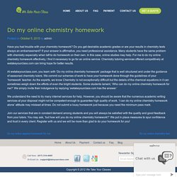 Do My Online Chemistry Homework For Me