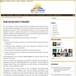 Online Free Quiz Contest To Win Money