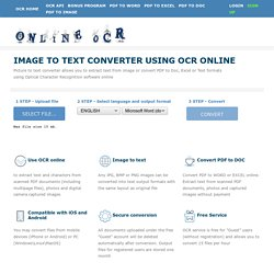 Free Online OCR service - convert PDF documents to Word, JPG to Word