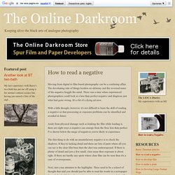 The Online Darkroom: How to read a negative