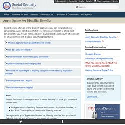 Apply Online for Disability Benefits