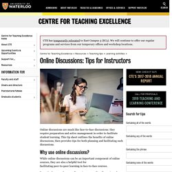 Online discussions: tips for instructors