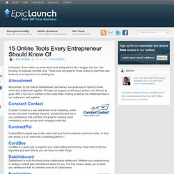 15 Online Tools Every Entrepreneur Should Know Of