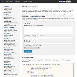 Free Online XPath Tester / Evaluator