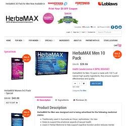 Buy Online HerbaMAX Men 10 Pack Herbal Sexual Health Product in Canada