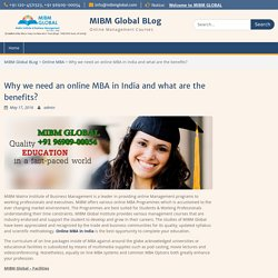 Why we need an online MBA in India and what are the benefits? – MIBM Global BLog