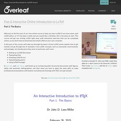 Free Online Introduction to LaTeX - Part 1: The Basics - Overleaf