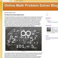 Online Math Problem Solver Blog: The Best Free Online Math Solver