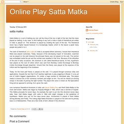 Online Play Satta Matka: satta matka